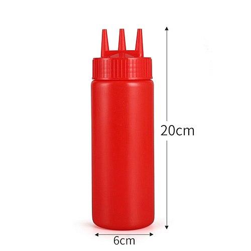 4pcs Jam Squeeze Bottles 3-hole Tomato Sauce Dispensers Kitchen Gadget for Salad Dressing Mustard (White, 12oz, 360ml)