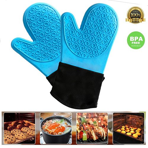 Kitchen Silicone Glove with Cotton Lining Heat Resistant Oven Mitts Professional Oven Glove Cooking Bbq Grill Gloves Baking Tool
