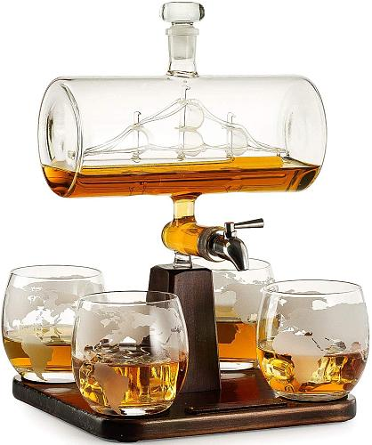 1 Set Creative Antique Boat Shape Decanter Red Wine Whiskey Glass Decanter 1 Bracket 1 Decanter 4 Cup Combination Set