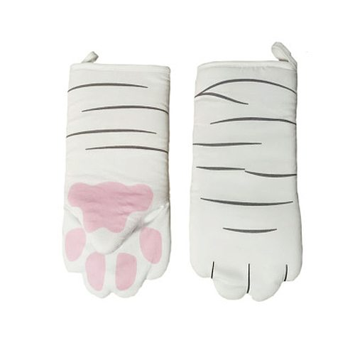 Cat Paws Oven Mitts Long Heat Insulation Baking Gloves Cotton Oven Gloves Non Slip Microwave Tools Kitchen Accessories