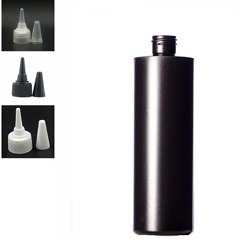 500ml empty plastic Squeeze soft bottle , balck HDPE cylinder round with  Twist Top Caps, pointed mouth top cap