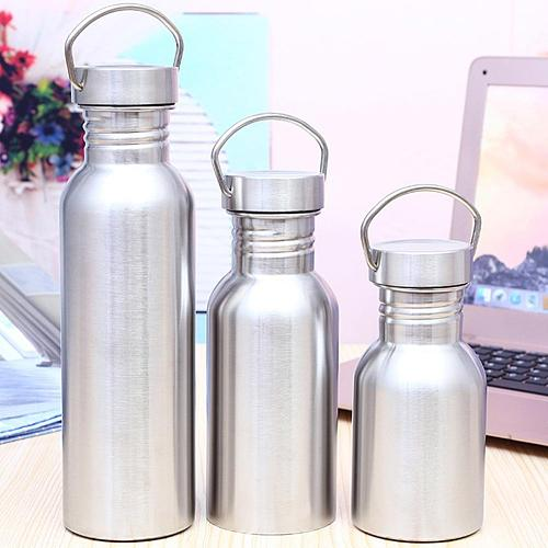 Double Wall Portable Stainless Steel Water Bottle 350/500/750ml Bamboo Lid Sports Flasks Travel Cycling Hiking Camping Bottles