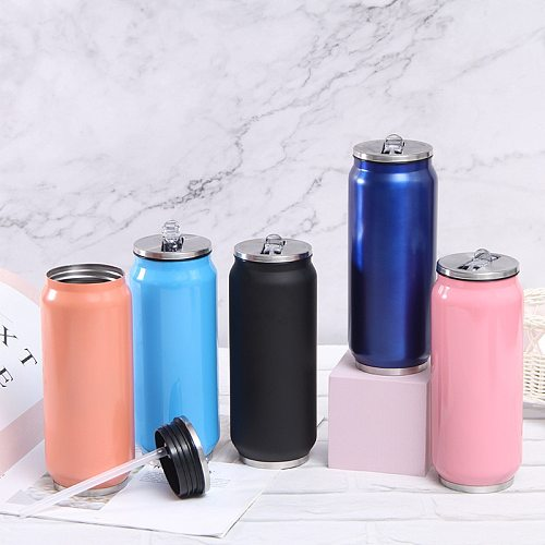 500ML Creative Stainless Steel Tumbler Thermos Cup With Straw And Lids Vacuum Flask Straw Coffee Thermal Thermoses Cans Customiz