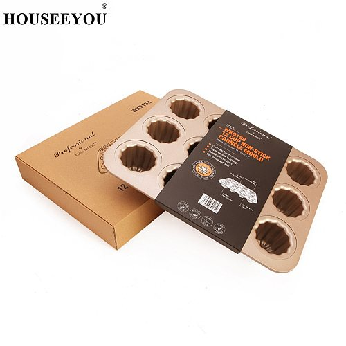 12 Cup Non Stick Cannele Mould Cake Pans Cupcake Oven Biscuit Mold Pie Dishes Baking Tray Home Kitchen Cook DIY Cooking Tools
