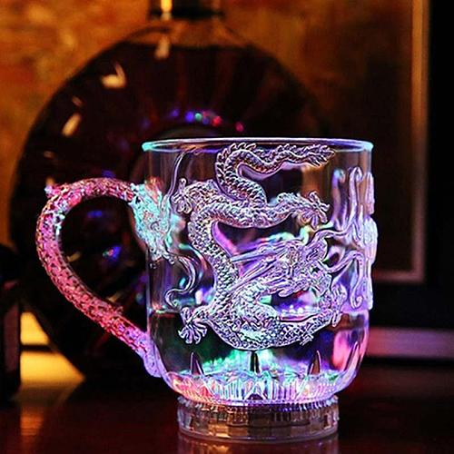 LED Flashing Color Change Water Activated Light Up Dragon Beer Whisky Cup Mug Cocktail Halloween Wedding Eye Catching  LED Flash