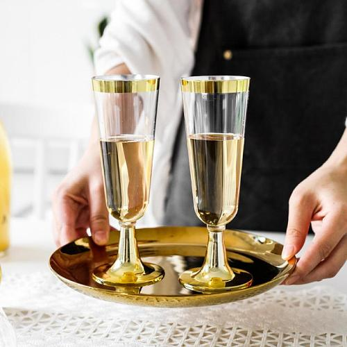 6pcs Disposable Bronzing Champagne Glass, Plastic Rimmed Red Wine Glass, Ice Cream Cup Tasting Rose Gold Dessert Cup Kitchenware