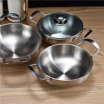 Korean oil saving frying pan household mini fryer double ears small dry pot hot pot restaurant suop stew pan glass lid cover