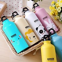 1 Pc 500ML Lovely Animal Pattern Vacuum Thermos For Women Kids Water Bottle Carabiner Sport Child Vacuum Flask