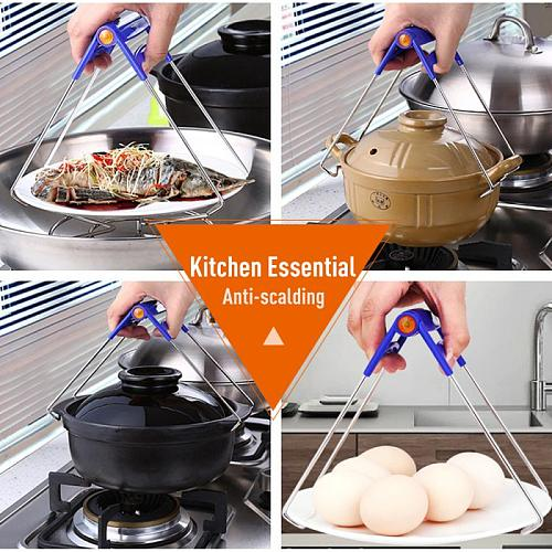 Foldable Hot Bowl Clip Pot Dish Holder Steamer Plate Tong Anti-Hot Clamp Gripper Heat Insulation Kitchen Tools Accessories