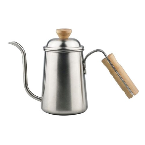 Stainless Steel 650mL Pour Over Coffee Kettle Drip Filter Fine Mouth Pot 50JD