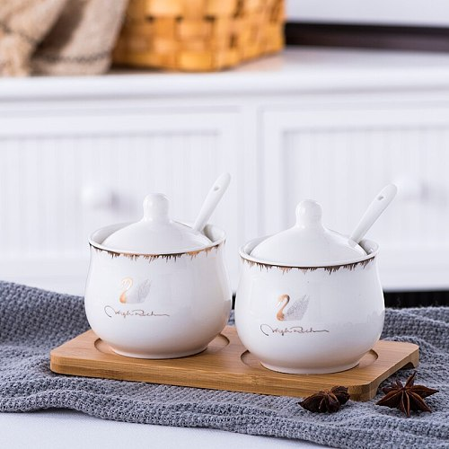 Ceramic Seasoning Jar Set Spice Box Kit Kitchen Supplies Seasoning Bottle Salt Pot Three-piece Ceramic Tray Bamboo Wood Tray