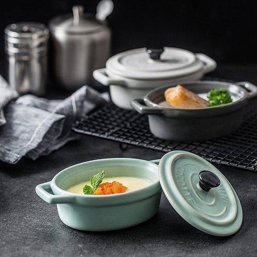 Mini Ceramic Casserole With lid Pudding Pumpkin Soup Matte Double ear Stew pot new Bone China Matte Glazed