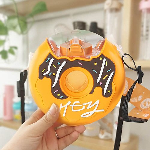 Cartoon Cute Donut Ice Cream Water Bottle Rainbow Creative Square Watermelon Cup Portable Leakproof Children Kettle with Straw