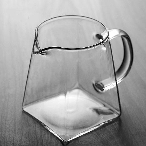 Heat-Resisting Clear Glass Tea Pitcher Square Creative Chinese Tea Set Accessory Chahai Milk Glass Pitcher Coffee Pot Water Jug
