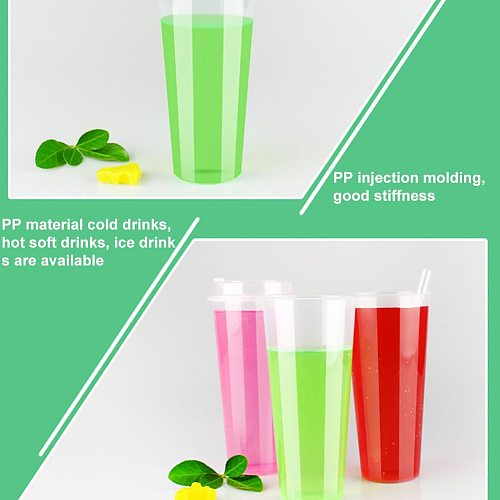25Pcs 500/700ml Disposable Portable Hand Coffee Tea Cup Bottle Beverage Drink Mug with Lid Plastic Travel Cup Drinking Cup