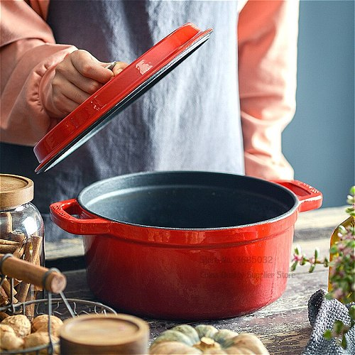Thick Enamel Pan with Cast Iron Inner Soup Pot Stew Uncoated Titanium Soup Stewing Cooking Pot Induction Cooker with Steamer