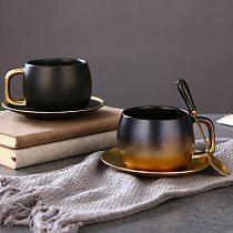 Light Luxury Simple Matte Black Gold Champagne Coffee Cup Saucer Set Table Decoration Unique Travel Couple Tea Cups Drinkware