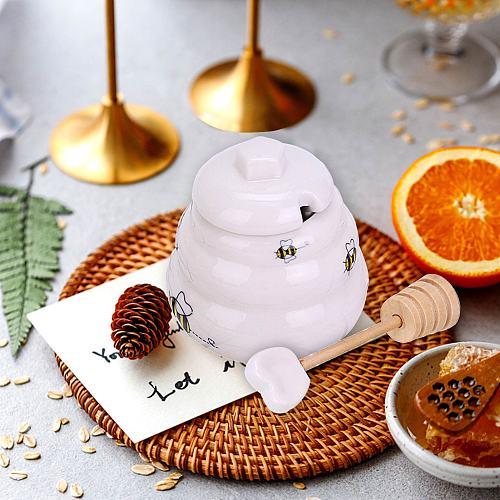 Mini Ceramic Honey Pot with Dipper Giftable Beehive Honey Pot