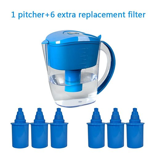 3.5L Alkaline Water Ionizer Jug Pitcher with total 7 Replacement Filter Cartridges Green Colour pH 8 to 10