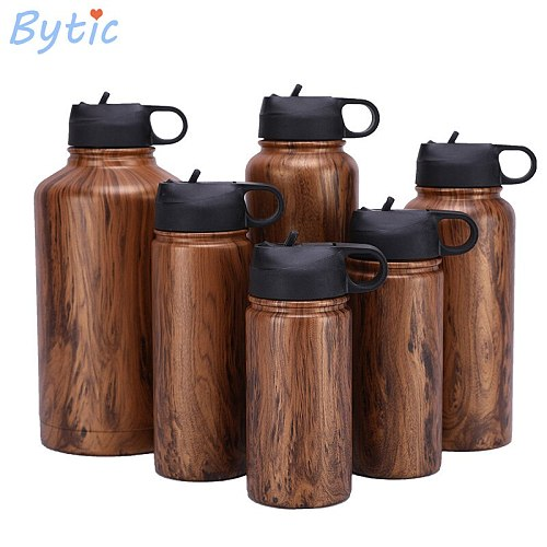 6 Size Wooden 304 Stainless Steel  Outdoor Portable Sports Bottle  Vacuum Flask