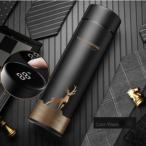 40# 500ML Smart Thermos Water Bottle Led Digital Temperature Display Stainless Steel Coffee Thermal Mugs Intelligent Cups