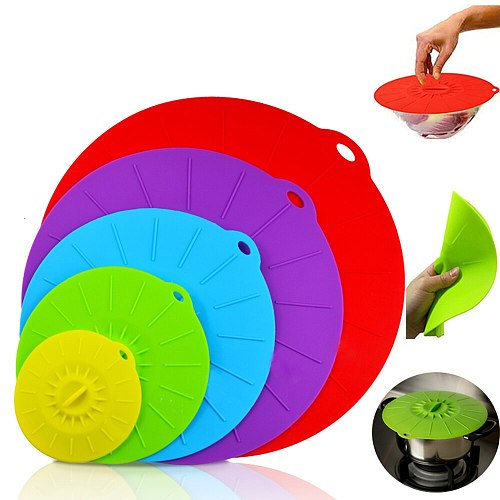 5Pcs Silicone Suction Lids BPA Free Food Cover Microwave Mugs Pots Bowls Cup Lids Seal Vacuum Lid Kitchen Cookware Accessories