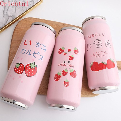 Water Bottle Can Cup Stainless Steel Cute Strawberry Girl Kids Insulated Portable Wide Mouth 500ml Travel Thermos Bottle Can cup