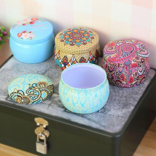 1PCS Multifunction Tinplate Candy Box Rose Tea Pot Drum-shaped Cookie Case Drawer Organizer Home Decor Festive Party Supplies