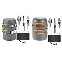 Lightweight Camping Cooker Pan Set Aluminum Camping Kitchen Utensils Kit for 1-2 People, Dinnerware Cutlery Utensil Pot Pan for