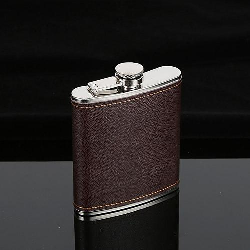 New Men High End Faux Leather Wrapped Stainless Steel Vodka Whiskey Alcohol Hip Flask 5-9oz/146.5-263.7ml Drop Shipping Flagon