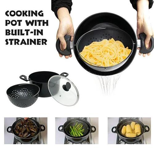 2 in 1 Cooking Pot with Built-in Strainer Rotary Water For Induction Pasta Stockpot Perfect Cooker Vegetable For Steaming G7J0