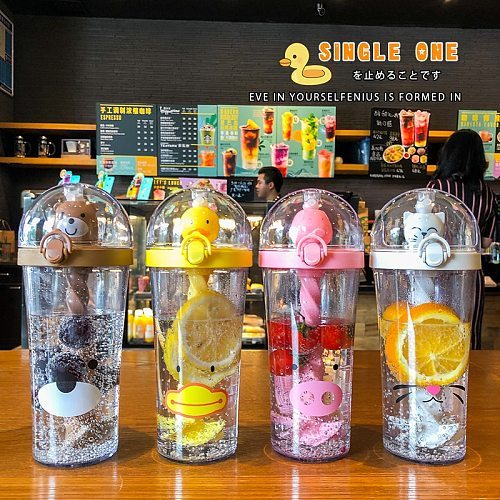 Creative Plastic Straw Water Bottle Cute Animal Drinking Cup Portable Large Capacity for Student Adult Kids Mixing Boba Cups
