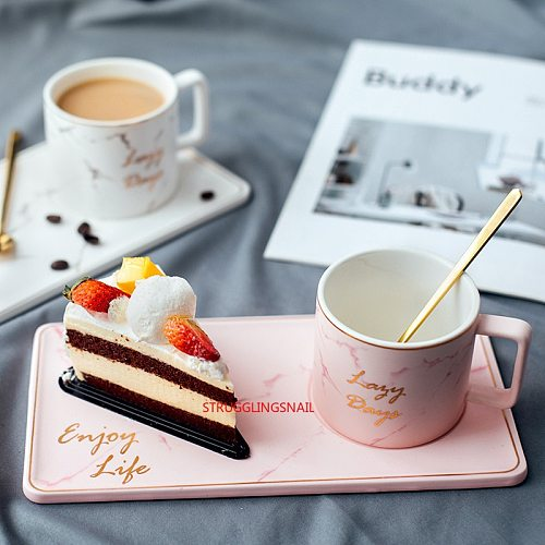 230ML Ceramic Coffee Cup Small Delicate Nordic Style Simple Household Cup Set Light Luxury British Afternoon Tea Snack Plate