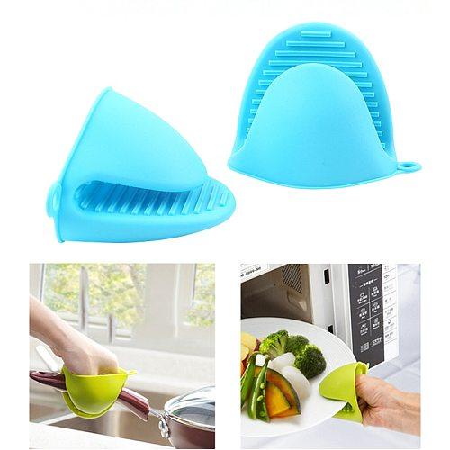 New Thicken Food Grade Silicone Anti-Hot Gloves Bowl Folder Kitchen Heat Insulation Plate Folder Baking Oven Hand Clip Mitts