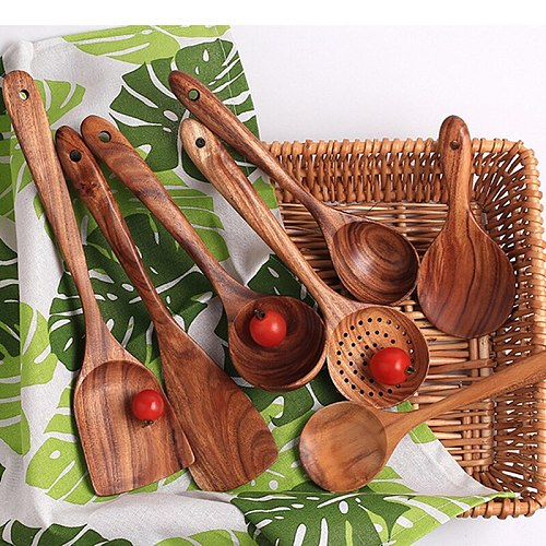 Wooden Kitchen Cooking Utensil Set Spoon Rice Colander Colander Spoon Spatula Shovel Heat-resistant Nonstick Cookware Set