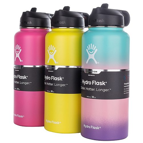 12oz/18oz Wide Mouth Outdoors Sports Bottle Tumbler Flask Vacuum Insulated  Stainless Steel Water Bottle