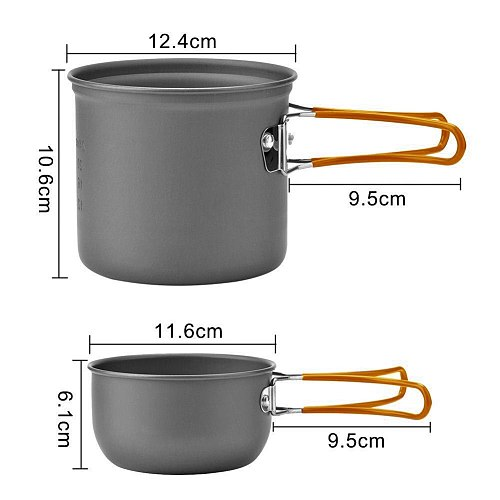 Camping Cookware Set Outdoor Portale Tableware Cooking Travel Cutlery Utensils Pot Pan Hiking Picnic Tools Orange Handle