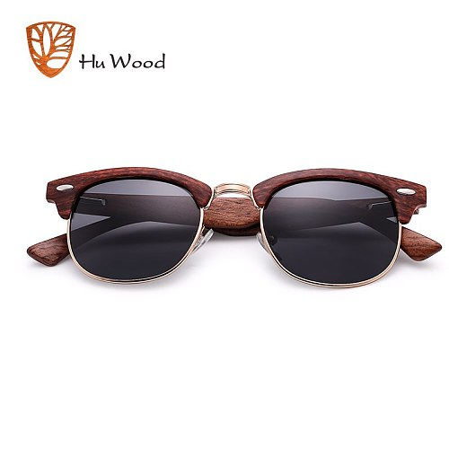 HU WOOD 2020 New Polarized Sunglasses Unisex Retro Wooden Striped High Quality Oval Semi-Rimless Brand Sun Glasses Female GR8005