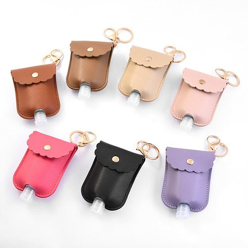 1 pc Empty Leak Proof Plastic Travel Bottle Portable Squeeze Bottle With Leather Keychain Holder For Hand Sanitizer