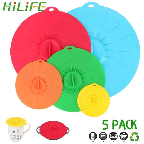 HILIFE Bowl Pot Cup Lid Pan Lid Stopper Microwave Bowl Cover Silicone Stretch Lids Kitchen Tools Reusable Food Fresh Cover 5Pcs