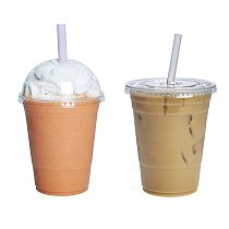 MONGKA 50 sets 450ml (16 oz) Clear disposable Plastic Cups With Lids And Drinking Straws