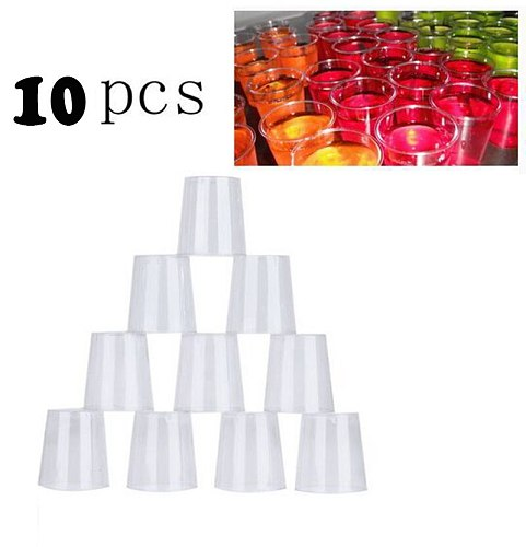 10pcs 30ml Plastic Shot Glass Disposable Shooter Cups Disposable Clear Plastic Shot Glasses Tumblers Jelly Cups Portable Cups
