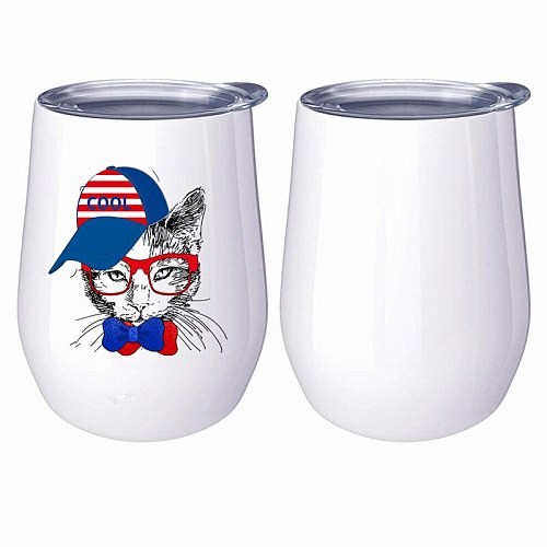Sublimation Wine Tumblers 12oz DIY Egg Shape Cups Stainless Steel Wine Glasses Thermo Coffee Mug