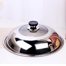 Stainless Steel Cooking Pot Lid Multifunction Anti Oil Splashing Thicken Pot Cover Protector Kitchen Tool(30CM)