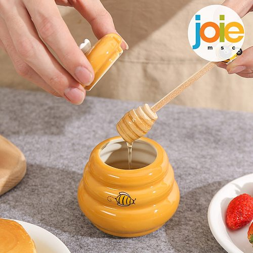 Joie Ceramic Beehive Honey Pot and Wooden Dipper honey jar with lid Honey Stir Bar For Honey Jar Supplies Kitchen Accessories
