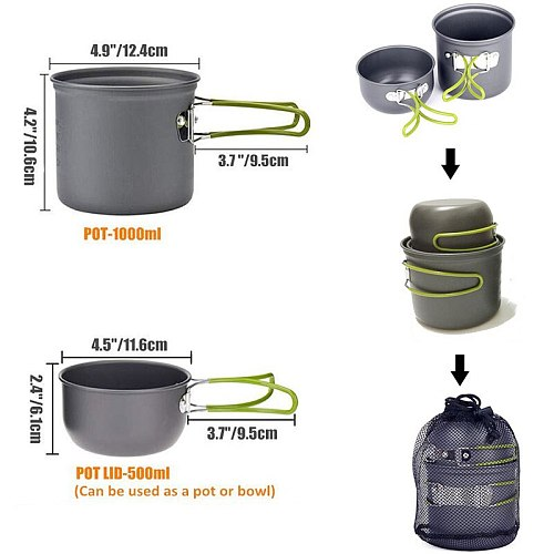 Outdoor Tableware Stove Sets Camping Cookware Camping Utensils Camp Tools Hiking Cup Aluminum Alloy Stainless Steel Pot Pan