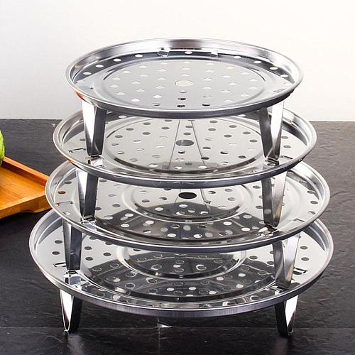 Multifunctional Home Kitchen Round Shape Steel Steamer Pot Insert Cookware Stock Rack Tray Steaming Stand Tool F6M0