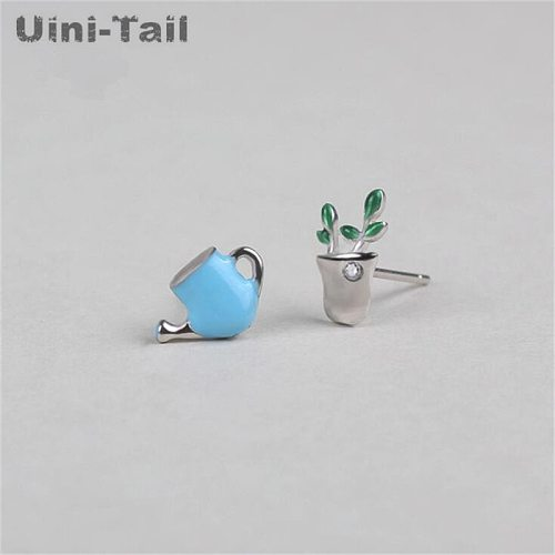 Uini-Tail hot 925 sterling silver Korean fashion asymmetric potted water bottle earrings personality temperament tide flow