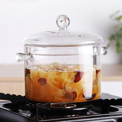 Soup Pot Pans For The Kitchen Flat Cookware Cooking Set Panela Glass Transparent Household Heat Resistant Porridge Bowl Tools