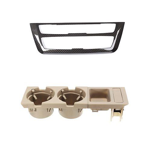 2 Pcs Car Accessories: 1 Pcs Center Decoration Frame & 1 Pcs Car Center Console Water Cup Holder Beverage Bottle Holder